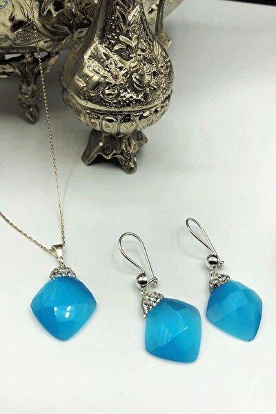 Dr Stone Harem Koleksiyonu Kedigözü Taşı El Yapımı 925 Ayar Gümüş Set Gdr11
