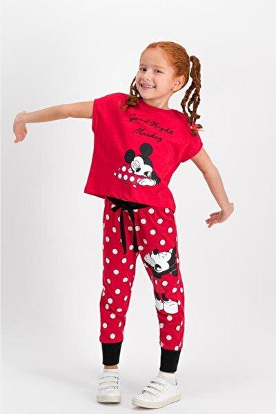 Mickey Mouse Lisanslı Kırmızı Kız Çocuk Pijama Takımı D4305-c