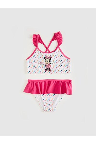 Minnie Mouse Kız Çocuk Beyaz Baskılı Lu7 Bikini Takımı
