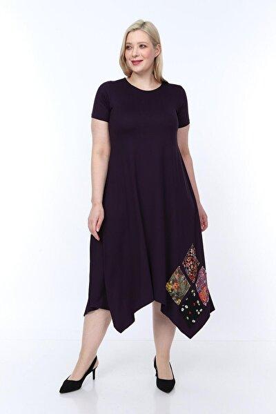 Büyük Beden Asimetrik Kesim Günlük Elbise