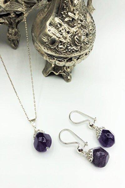 Dr Stone Harem Koleksiyonu Ametist Taşı El Yapımı 925 Ayar Gümüş Set Gdr13