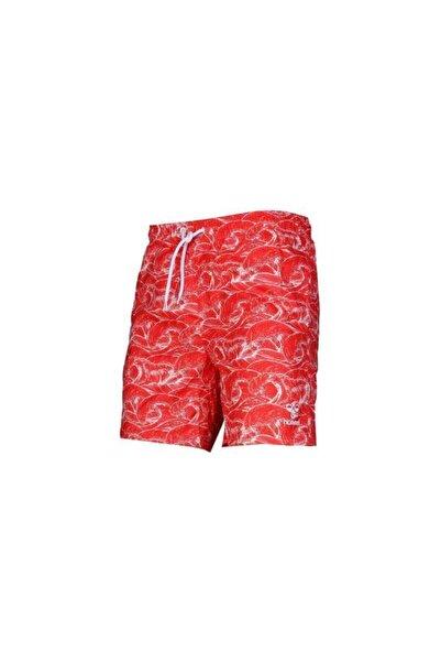 Erkek Kırmızı Desenli Casey Yüzme Deniz Şortu