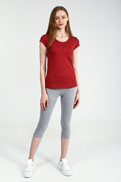 Kırmızı Yuvarlak Kesim Kısa Kollu Basic Kadın Tshirt