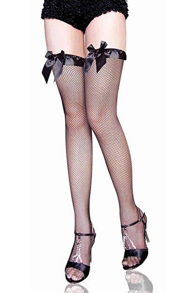 Özel Tasarım File Jartiyer Çorabı Siyah
