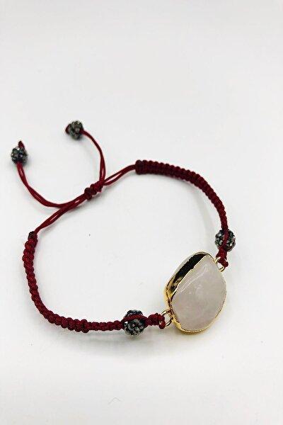 Dr Stone Doğaltaş Kuvars Taşı Altın Kaplama El Yapımı Kadın Bileklik Tkrb51