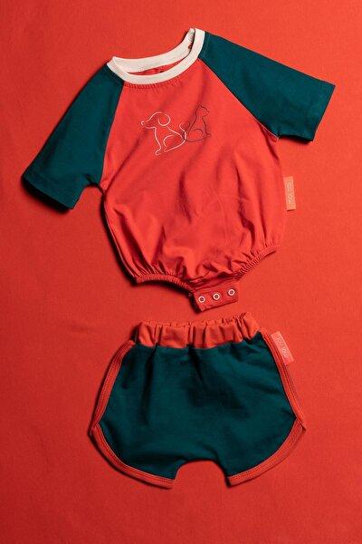 Alttan Çıtçıtlı Şortlu Unisex Bebek 2 Parça Takım