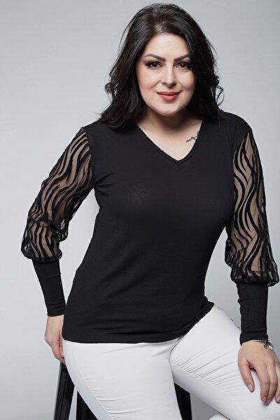 Kadın Büyük Beden Kolları Transparan Süet Dal Detay Siyah Bluz