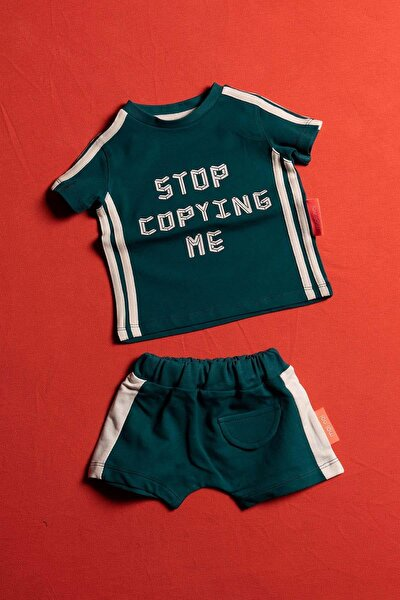 Stop Copying Me Unisex Bebek Ve Çocuk Şortlu 2 Parça Takım