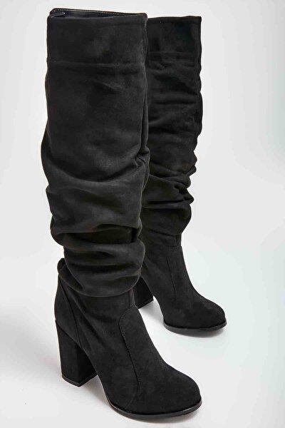 Siyah Süet Kadın Çizme M0503540072
