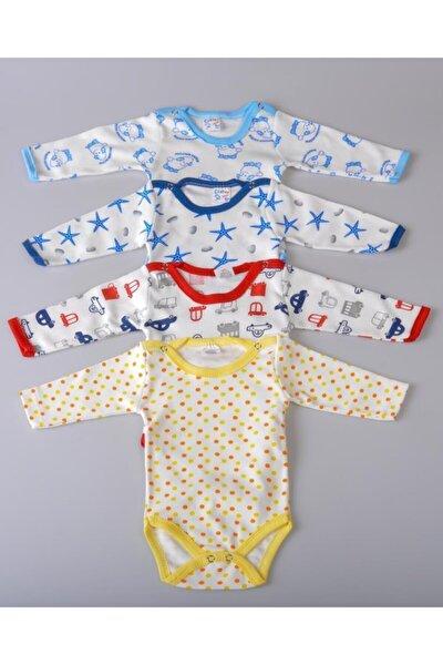 Yeni Sezon Erkek Bebek Çocuk 4'lü Farklı Desenli Body Zıbın-1120