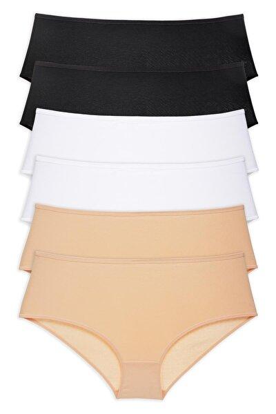 Kadın Siyah - Beyaz - Ten 6'lı Paket Yüksek Bel Bato Külot