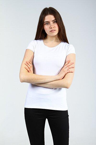 Beyaz Bisiklet Yakalı Kısa Kollu Basic Kadın Tshirt