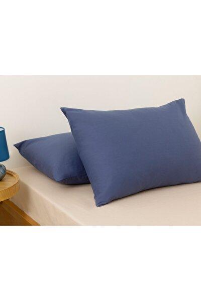 Düz Pamuklu 2'li Yastık Kılıfı 50x70 Cm Gece Mavisi
