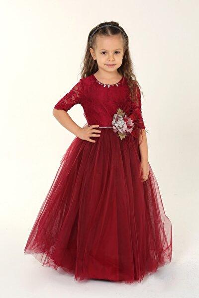 Kız Çocuk Dantelli Bordo Abiye Elbise