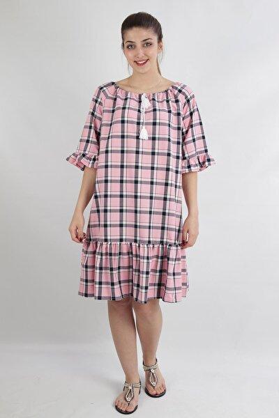 Bağlama Detaylı Ekose Desenlı Fırfırlı Rahat Kalıp Elbise, Pembe (B20-150909)
