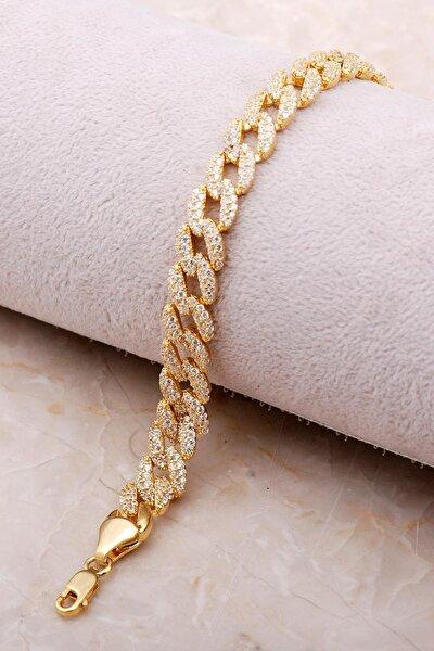 Altın Yaldızlı Taşlı Gurmet Gümüş Bileklik 3477