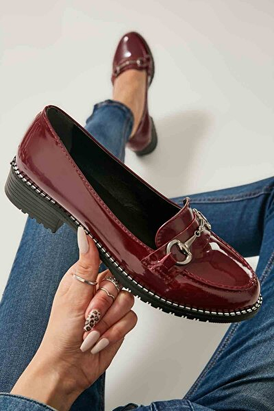 Bordo Kadın Loafer Ayakkabı M07782341