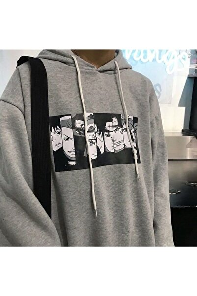 Gri Kapüşonlu Naruto Anime Sweatshirt