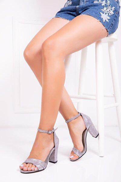 Hakiki Deri Gri Nubuk Kadın Topuklu Deri Ayakkabı Dp34-1927