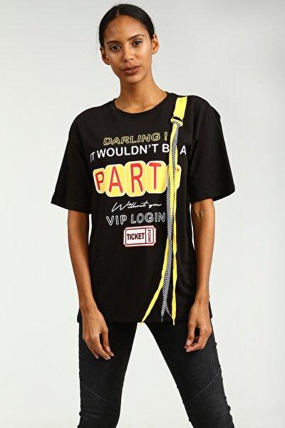 Sıyah Önü Baskılı Ip Detaylı Boyfriend Kısa Kollu Kadın Tshirt