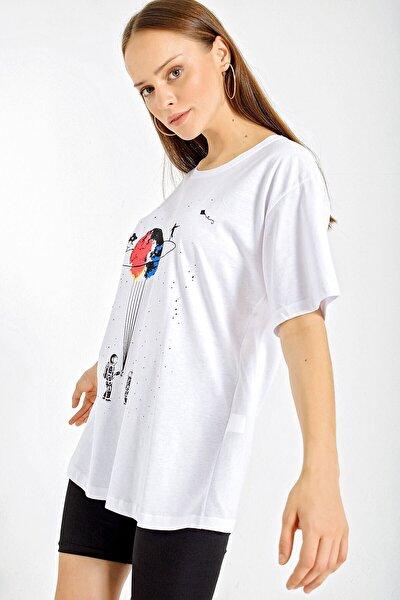 4170 Baskılı Oversize T-shirt