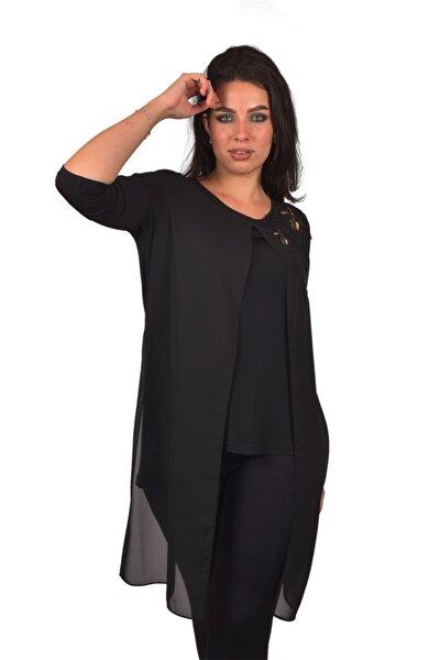 Siyah Abiye Büyük Beden Kadın Bluz Ult5225
