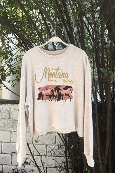 Kadın Montana Baskılı Pamuklu Crop Sweatshirt