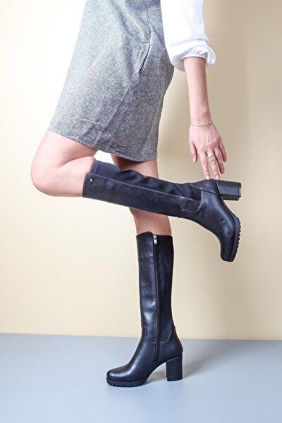 Rahat Taban Alçak Topuklu Siyah Kadın Çizme