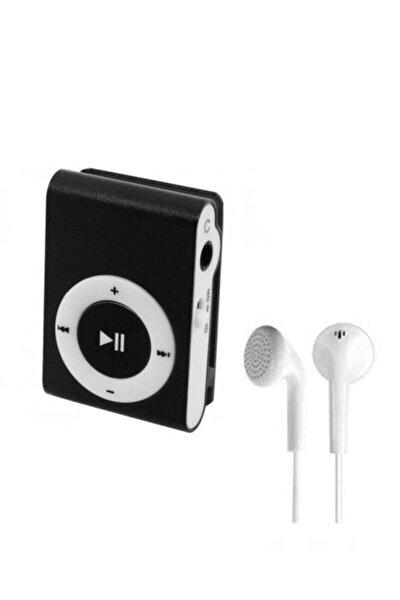 Mini Mp3 Çalar Micro Sd Kart Girişli Müzik Çalar + Kulaklık Mp3 Siyah