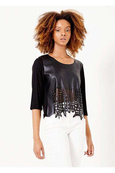 Kadın Siyah Suni Deri Lazer Kesim Bluz