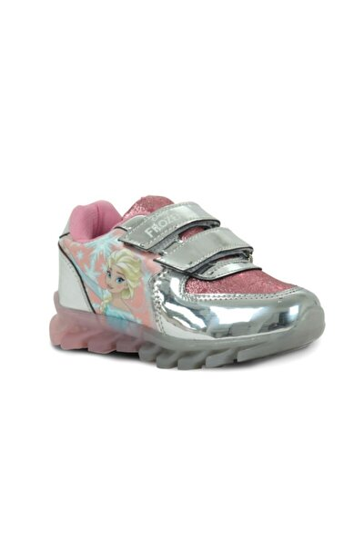 Kız Çocuk Işıklı Gümüş Renk Spor Ayakkabı