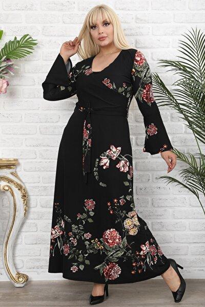 Kadın Büyük Beden Siyah Kruvaze Yaka Volan Kol Elbise