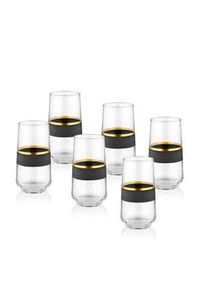 Glow Cam 6'lı Meşrubat Bardağı Siyah-gold Glw0002