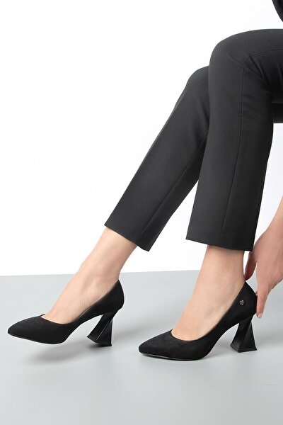 Siyah Süet Kadın Topuklu Ayakkabı