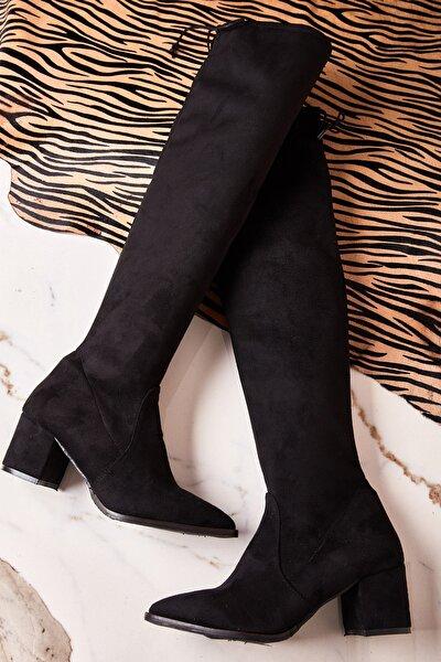 Siyah Süet Kadın Çizme K0548150065