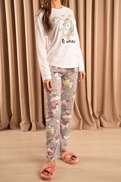 Be Unique Baskılı Pijama Takımı Beyaz