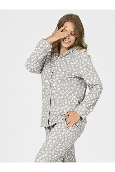 Önden Düğmeli Patili Kadın Pijama Takımı 67088