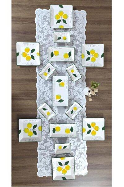 Limon Desen Kahvaltı Takımı 15 Parça 6 Kişilik El Boyaması