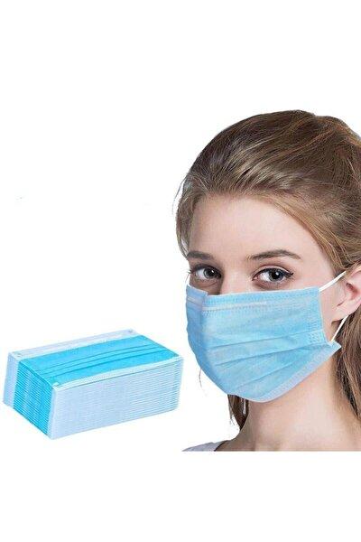 50 Adet Mavi Tek Kullanımlık Meltblown Kumaş 3 Katlı Cerrahi Koruyucu Yüz Maskesi