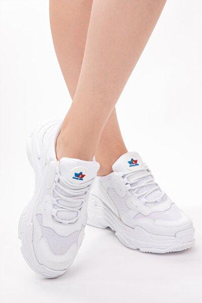 Kadın Sneaker Spor Ayakkabı Memory Hafıza Yüksek Tabanlı Yürüyüş Ayakkabısı Dar Kalıp Beyaz Siyah