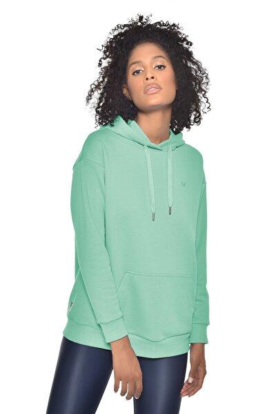 Yeşil Kadın Kapüşonlu Sweatshırt Gw-8785