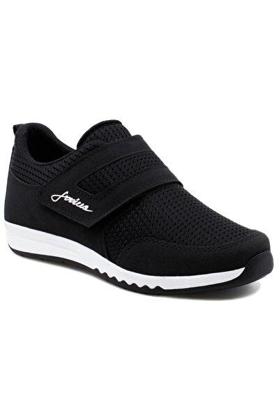 Bayan Siyah-beyaz Rahat Hafif Cırtlı Günlük Yürüyüş Spor Ayakkabı