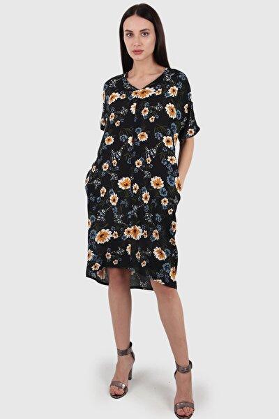 Çiçek Desenli Cepli Elbise, Siyah (B20-487elb-12)