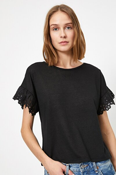 Kadın Dantel Detayli T-shirt 0yak13979ok