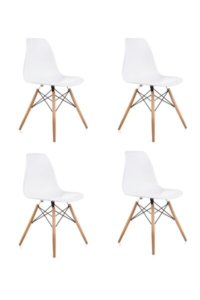 Beyaz Eames Sandalye - 4 Adet - Cafe Balkon Mutfak Sandalyesi