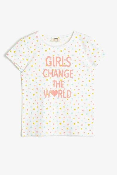 koton Kız Çocuk Yazılı Baskılı Ekru T-shirt 0ykg17091ok