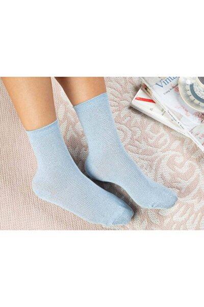 Purler Pamuk Kadın Çorap Mavi