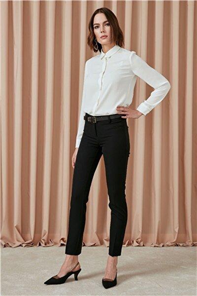 Pantolon, Yan Beden Üçgen Parça Detaylı, Klasik Dar Paça