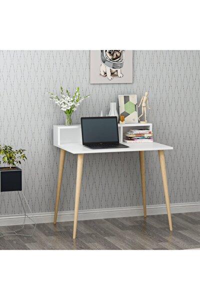 Ronas Ahşap Ayaklı Çalışma Masası Beyaz 90cm
