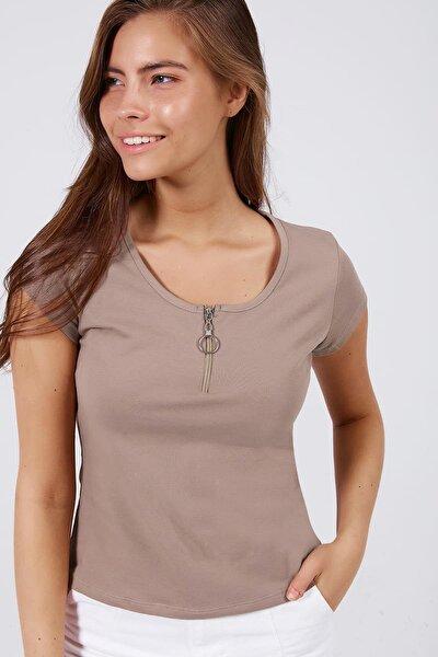 Kadın Fermuar Detaylı Kısa Kollu Tişört Y20s126-10543